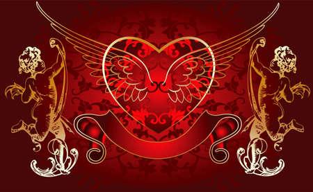 Red Background Golden Cupid Vector