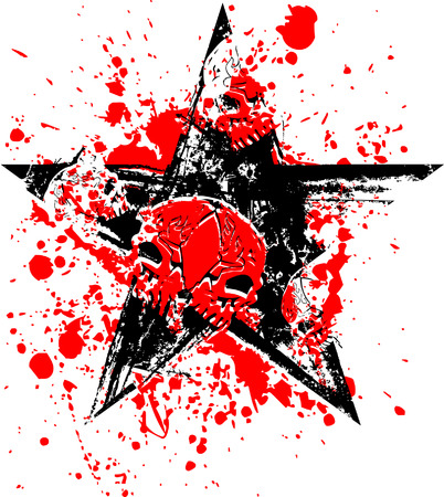 Red Black Skull Star Vector