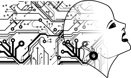 Bald Head And printed Circuits Stock Vector - 4389075