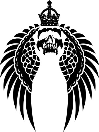 crypt: Crowned Skull on Wings Illustration