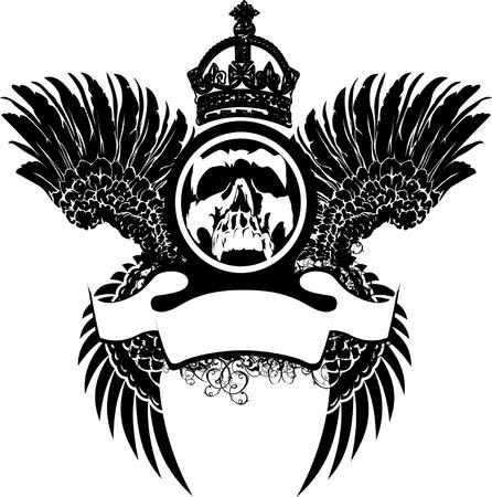 mortalidad: Cr�neo coronado en Alas Vectores