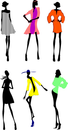 Six Fashion Girls Silhouette. More In My Portfolio. Stock Vector - 4704648