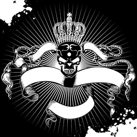 skull and crown: Crown Skull Sign Illustration