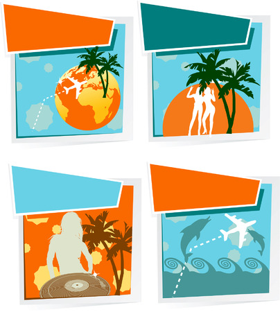 Four Summer Vacation Icons Vector