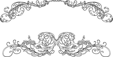 Two Baroque Calligraphy Curves Vector