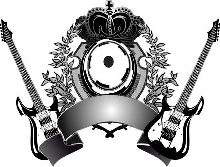 Heraldic Guitar  Vector