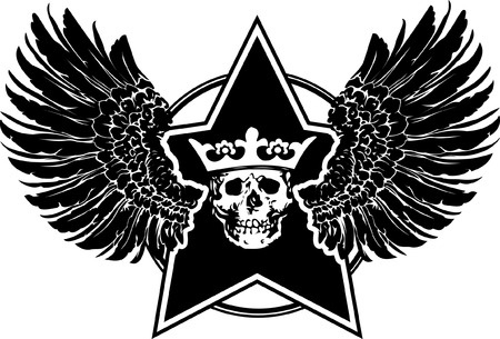 Wings, Skull And Star Sign Vector
