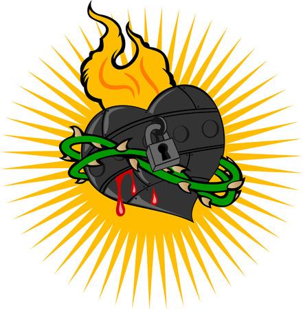 Fire Iron Heart Stock Vector - 5499960