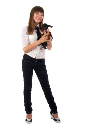 Girl And Her Dog. Isolated On White Background. Stock Photo - 5641409
