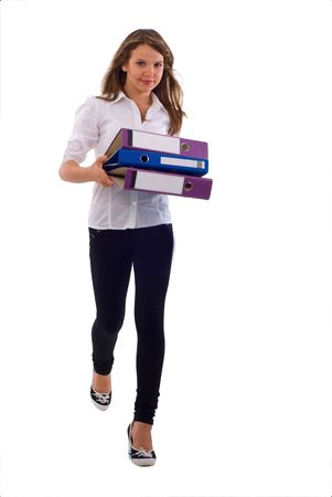 Young Office Girl With Documents. Isolated On White Background. photo