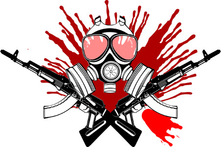 Gas Mask, Gun And Blood. Vector Illustration.