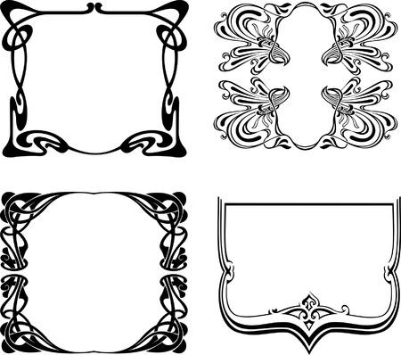 Four Black And White Art Deco Frames. Vector Illustration. Illustration