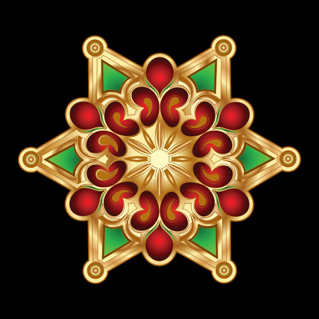 Christmas Green Red Gold Snowflake Jewelry. Vector Illustration. Vector