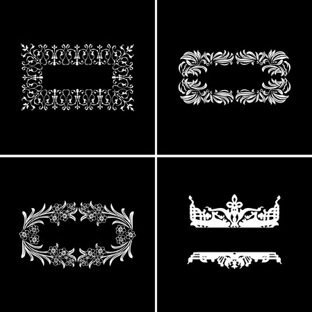 Four Decorative Vintage Ornate Banners. Vector Illustration. Vector