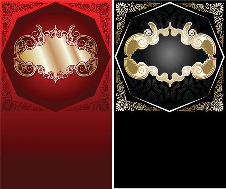 Red, Black  And Gold Ornate Banner. Vector Illustration. Vector