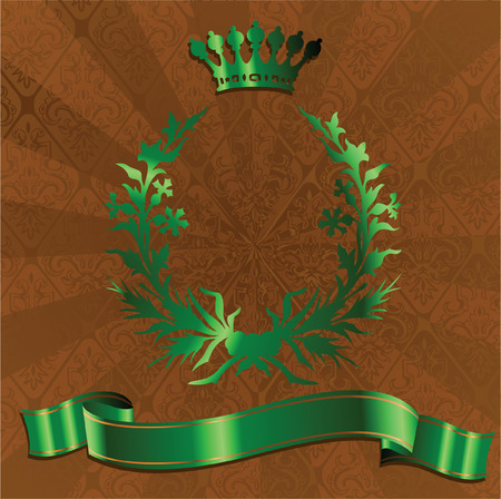 Green King Crown On Brown Ornate Background. Vector