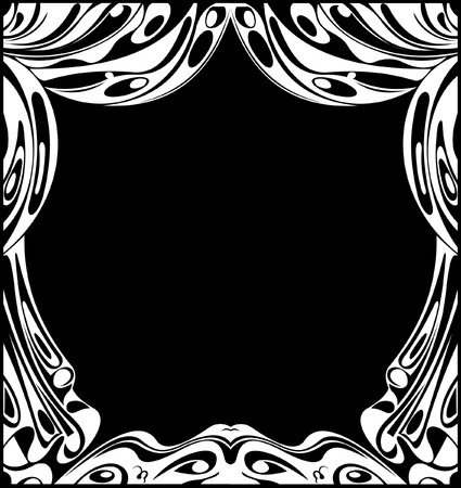 Black And White Theatrical Curtains. Vector Illustration. Stock Vector - 6169428