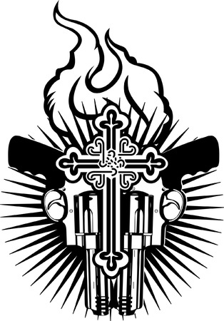Fire Heart, Guns And Cross. Black And White Vector Illustration. Stock Vector - 6169438