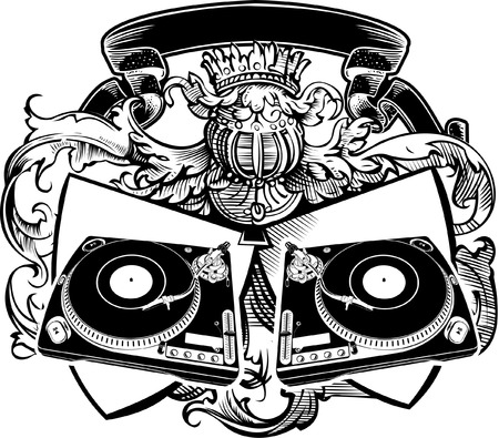 Heraldry DJ Sign With Turntables. Vector Illustration. Vector