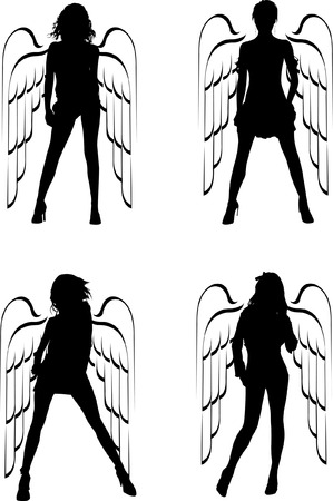 Four Silhouette Winged Girls Angels. Vector Illustration. Vector