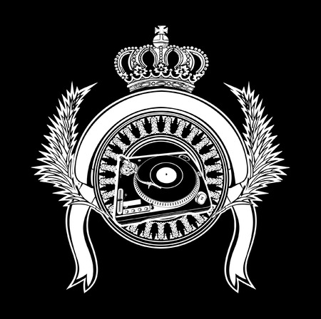 Crowned Heraldry DJ Sign With Turntables. Vector Illustration. Vector