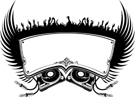 Black And White DJ Flayer. Vector Illustration. Vector