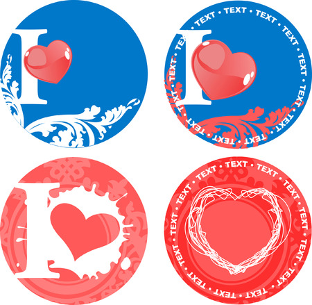 Set Of Romance Love Pink And Blue Signs. Vector Illustrations. Vector