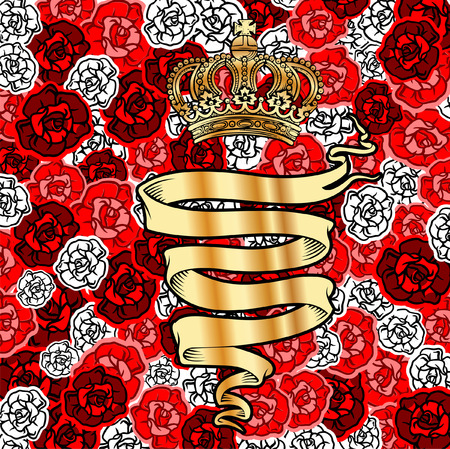 Golden Banner And Crown On Red Roses Background. Vector Illustration. Vector