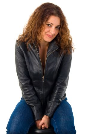 Young Woman In Leather Jacket. Studio Shoot Over White Background. photo