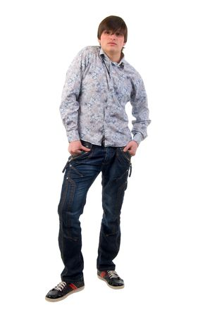 Modern Jeans Young Adult Man. Studio Shoot Over White Background. photo
