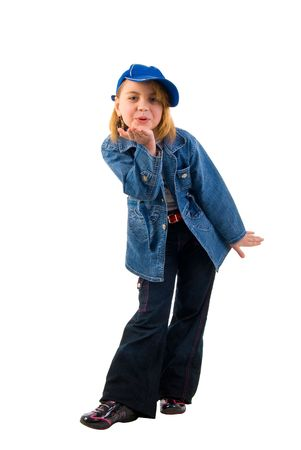 Blowing Kiss Jeans Girl. Studio Shoot Over White Background. Stock Photo - 6296025