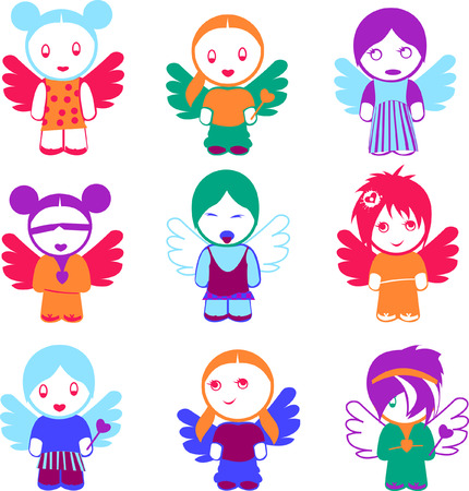 Set Of Nine Colorful Angel Girl Dolls. Vector