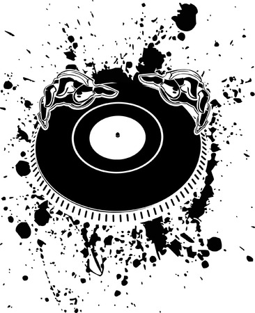 Black And White DJ Hands On Stain. Vector