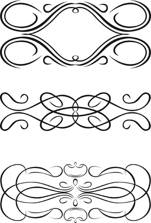 Three One Color Baroque Curves.  Stock Vector - 6601394