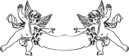 Two Baroque Cupids.  Vector