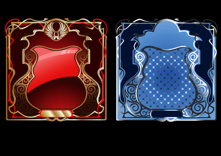 Blue And Red Gold Ornate Banner.  Vector