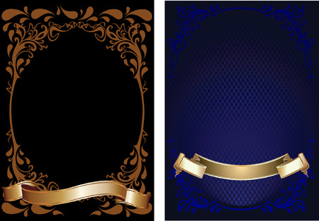 Blue, Brown And Gold Ornate Banner. Vector
