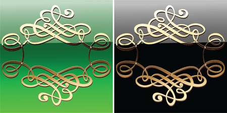 Gold Calligraphy Curves On Green And Black.  Vector