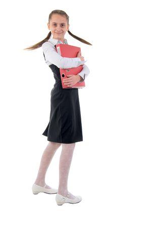 school uniform girl: Cute Teen Schoolgirl. Side View. Studio Shoot Over White Background.