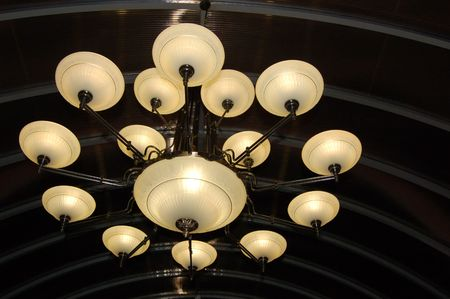 Close-up of Modern Classics Chandelier. photo