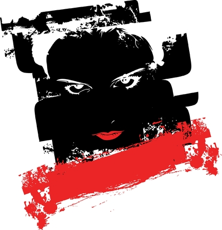 Black And Red Grunge Graffiti Girl Face. Vector Illustration. Vector