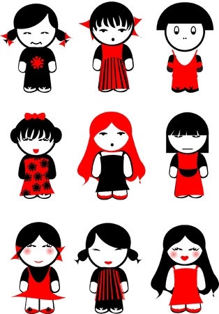 Nine Red Black Girls Dolls. Others In Portfolio. Stock Vector - 8336498