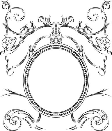 royal person: Royal Ornate One Color Calligraphy Vintage Frame Illustration
