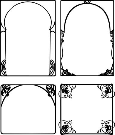 Set Of Four One Color Baroque Black Frames Stock Vector - 8336495