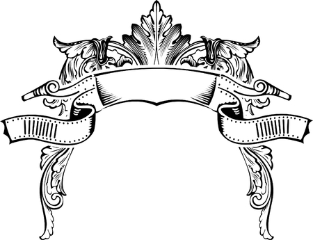 Antique Half Frame Engraving, Scalable And Editable Vector Illustration Illustration