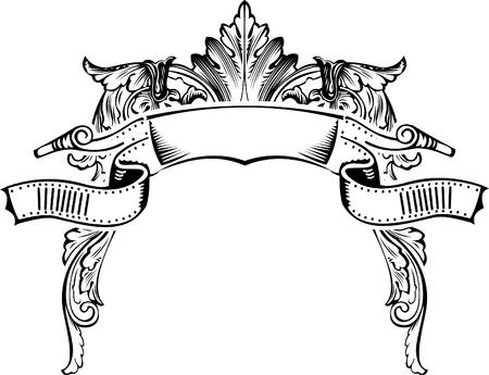 Mezza cornice di antiquariato incisione, scalabili e modificabili illustrazione vettoriale