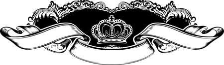 One Color Royal Crown Vintage Curves Banner Illustration