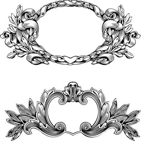 insignias: Antique Frame Engraving, Scalable And Editable Vector Illustration