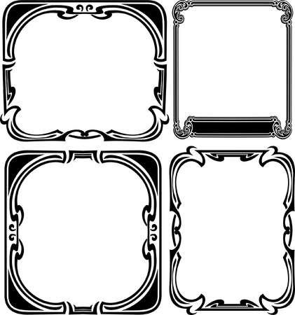 Set Of Four Elegance Baroque Black Frames Stock Vector - 8336493