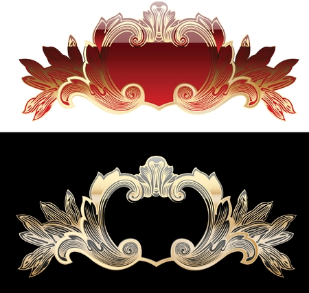Two Red And Gold Royal Design Elements Vector